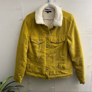 Jackets & Blazers - Yellow Fur Lined Jacket